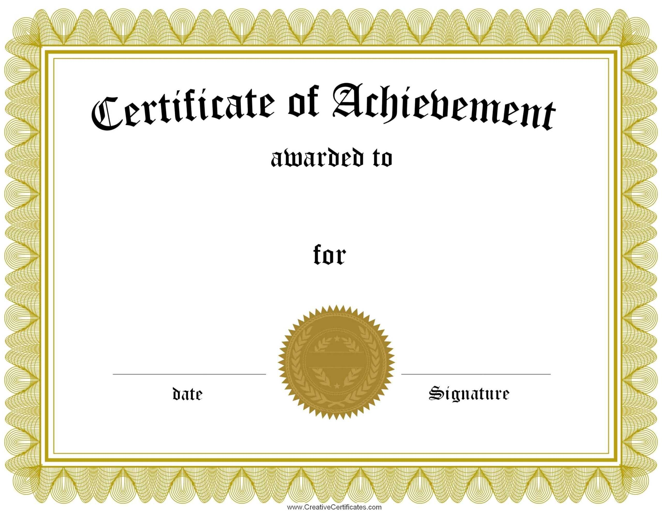 Free Printable Certificate Of Achievement Online Template Regarding Free Printable Certificate Of Achievement Template