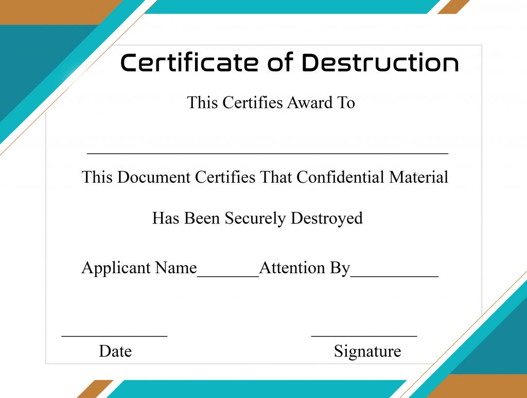 Free Printable Certificate Of Destruction Sample Pertaining To Free Certificate Of Destruction Template