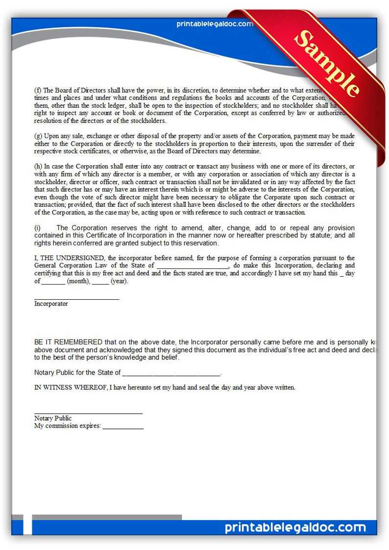 Free Printable Certificate Of Incorporation | Sample For Certificate Of Disposal Template