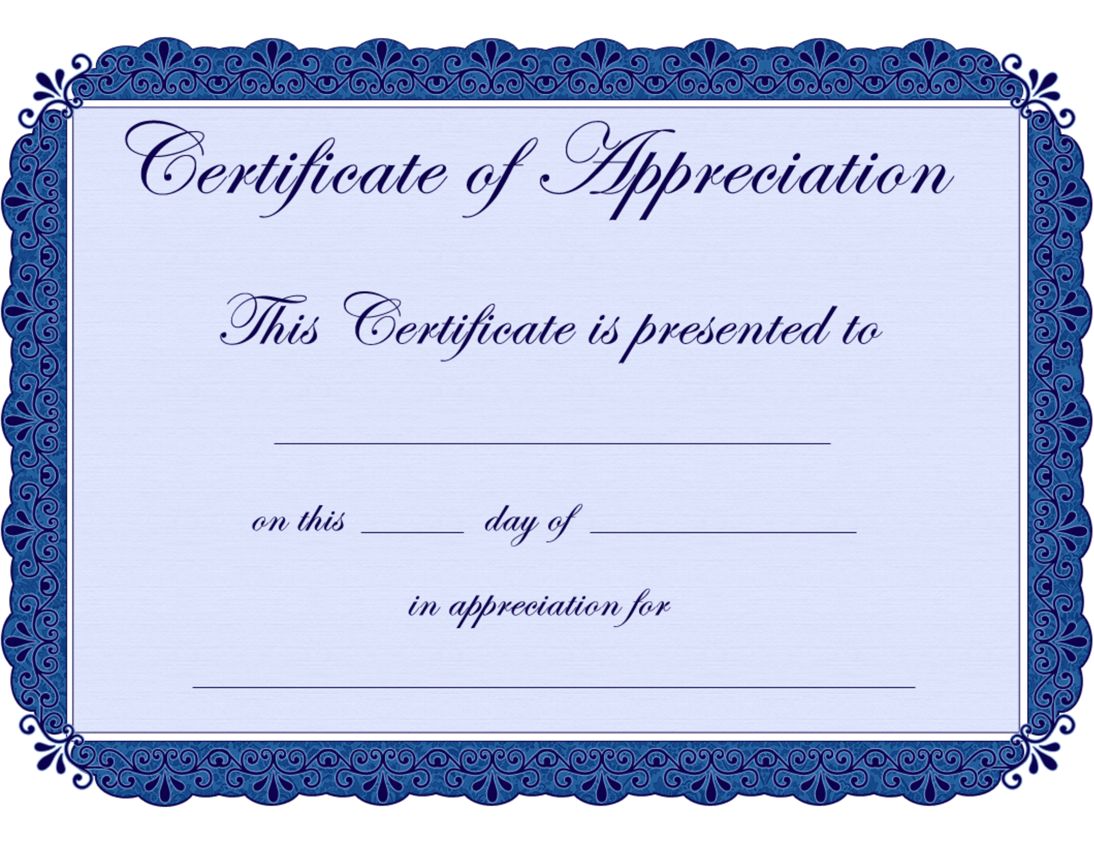 Free Printable Certificates Certificate Of Appreciation pertaining to Free Completion Certificate Templates For Word
