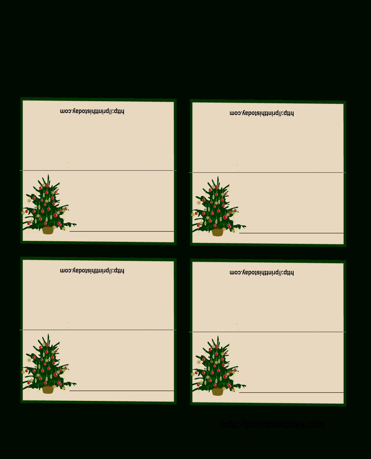 Free Printable Christmas Tree Place Cards | Christmas Place For Christmas Table Place Cards Template