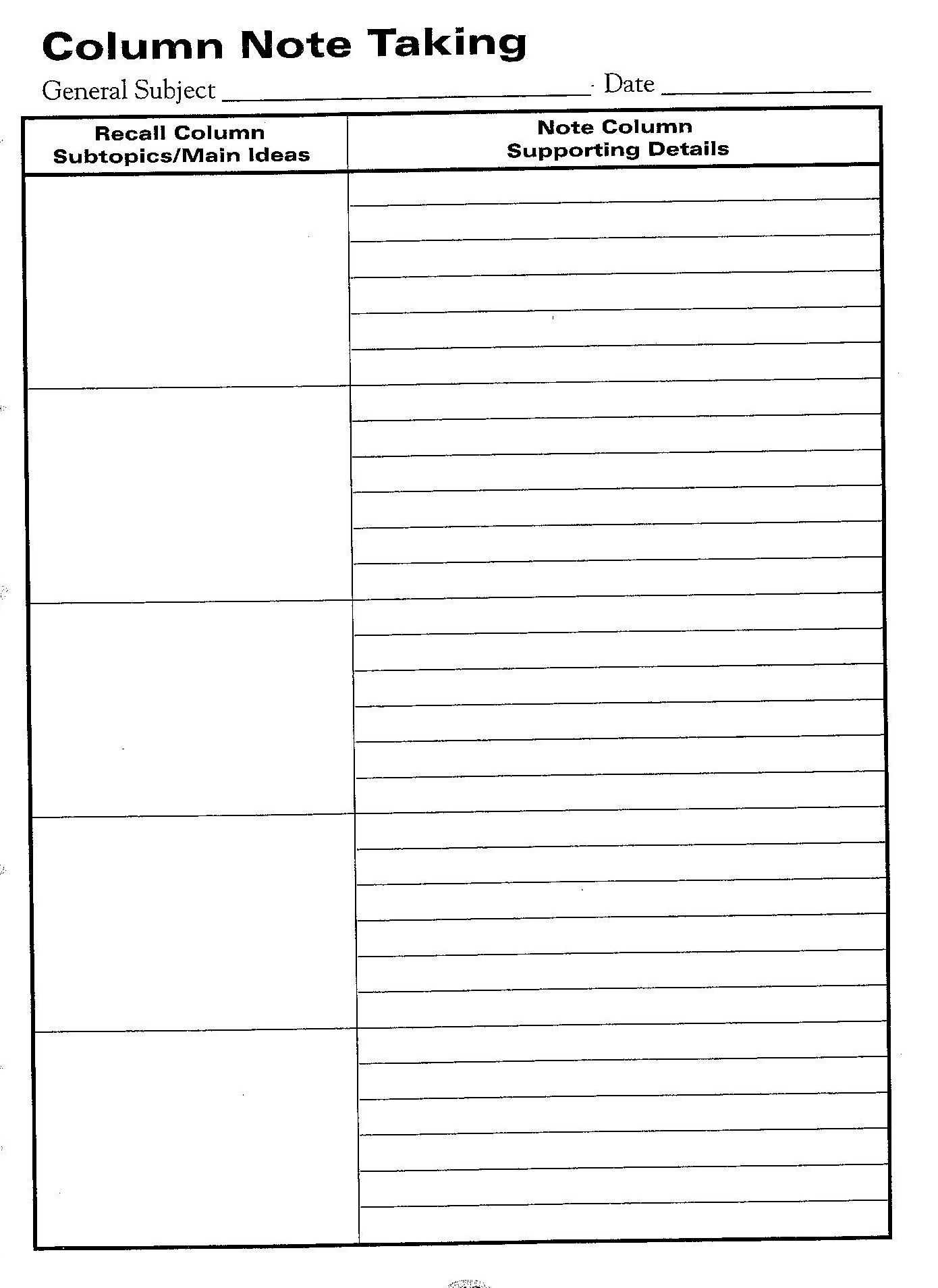 Free Printable Cornell Notes Graphic Organizer |  Comic With Regard To Note Taking Template Word
