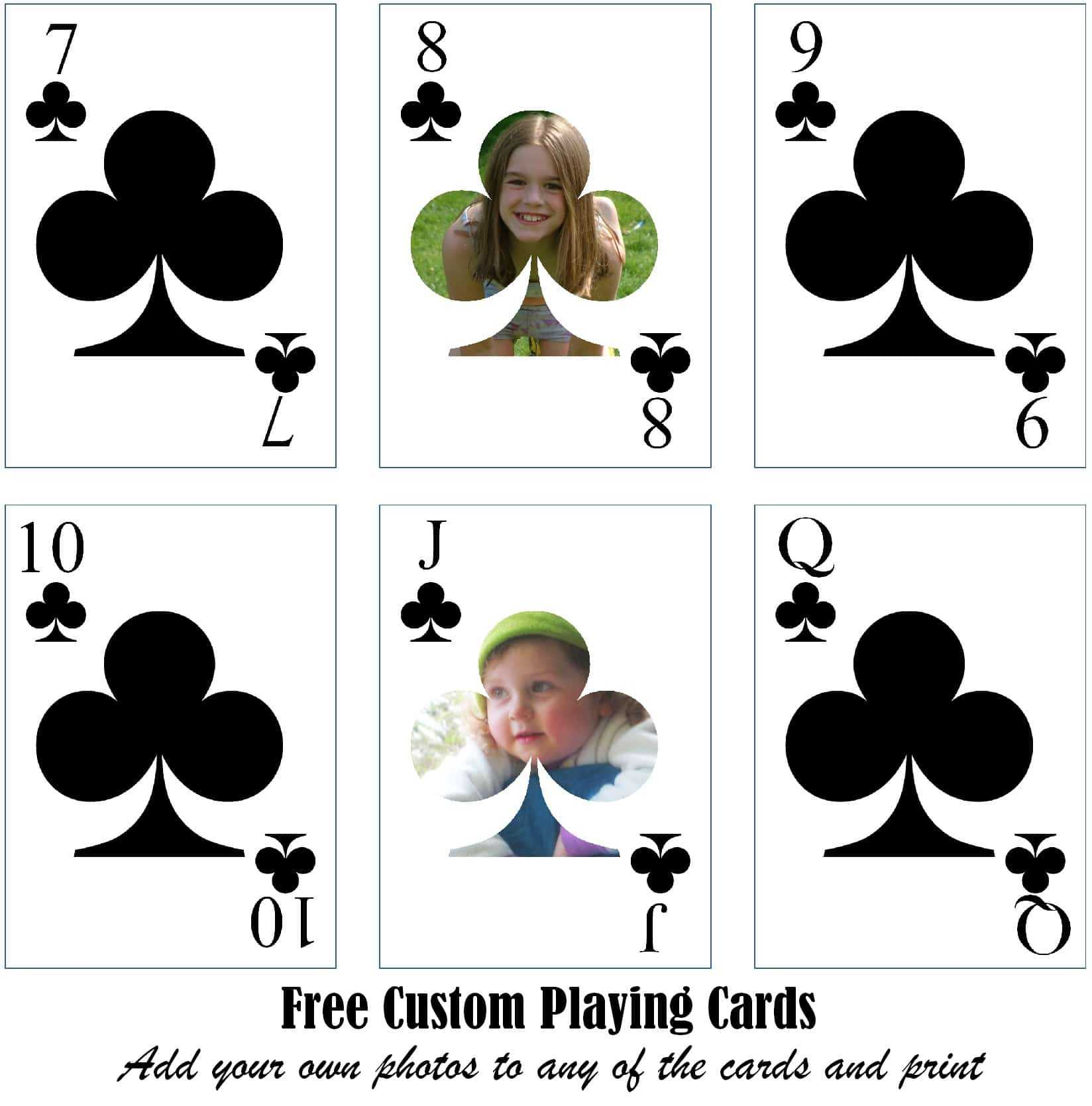 Free Printable Custom Playing Cards | Add Your Photo And/or Text Within Custom Playing Card Template