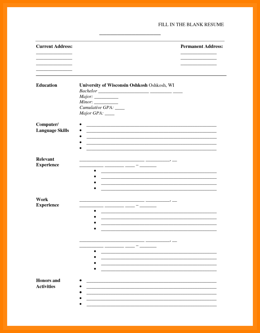 Free Printable Cv Template Download Curriculum Vitae Blank In Free Blank Cv Template Download