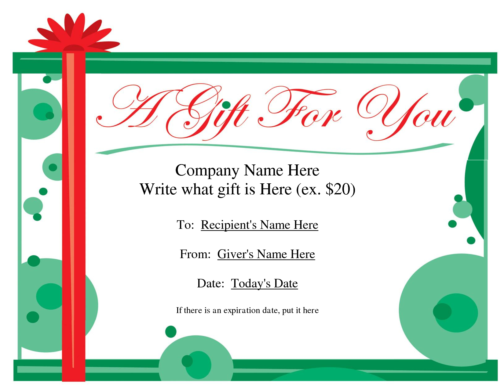 Free Printable Gift Certificate Template   Free Christmas Intended For Free Christmas Gift Certificate Templates