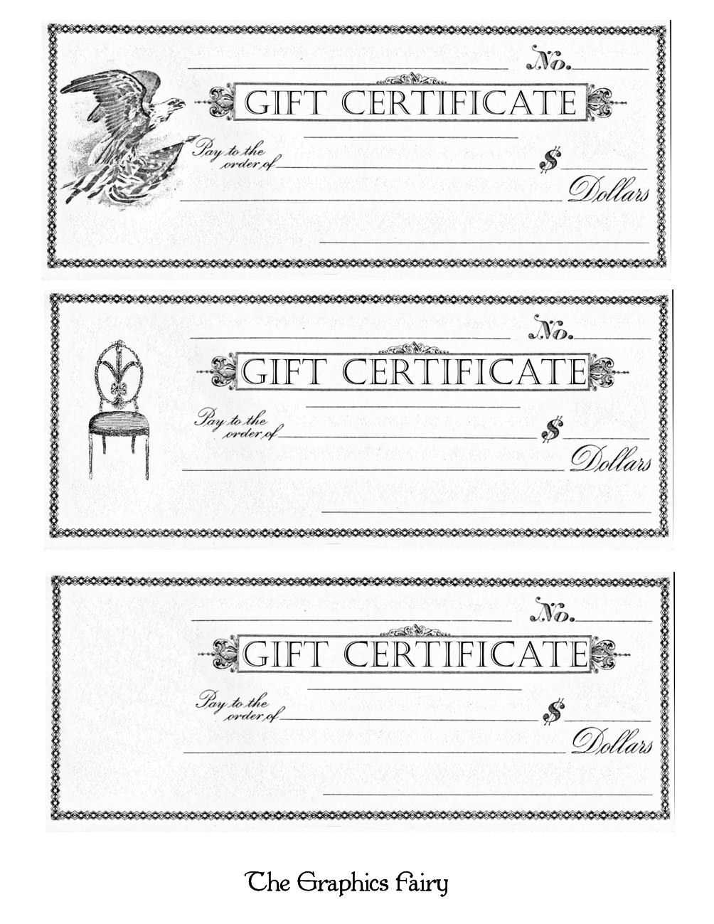 Free Printable - Gift Certificates - The Graphics Fairy intended for Black And White Gift Certificate Template Free