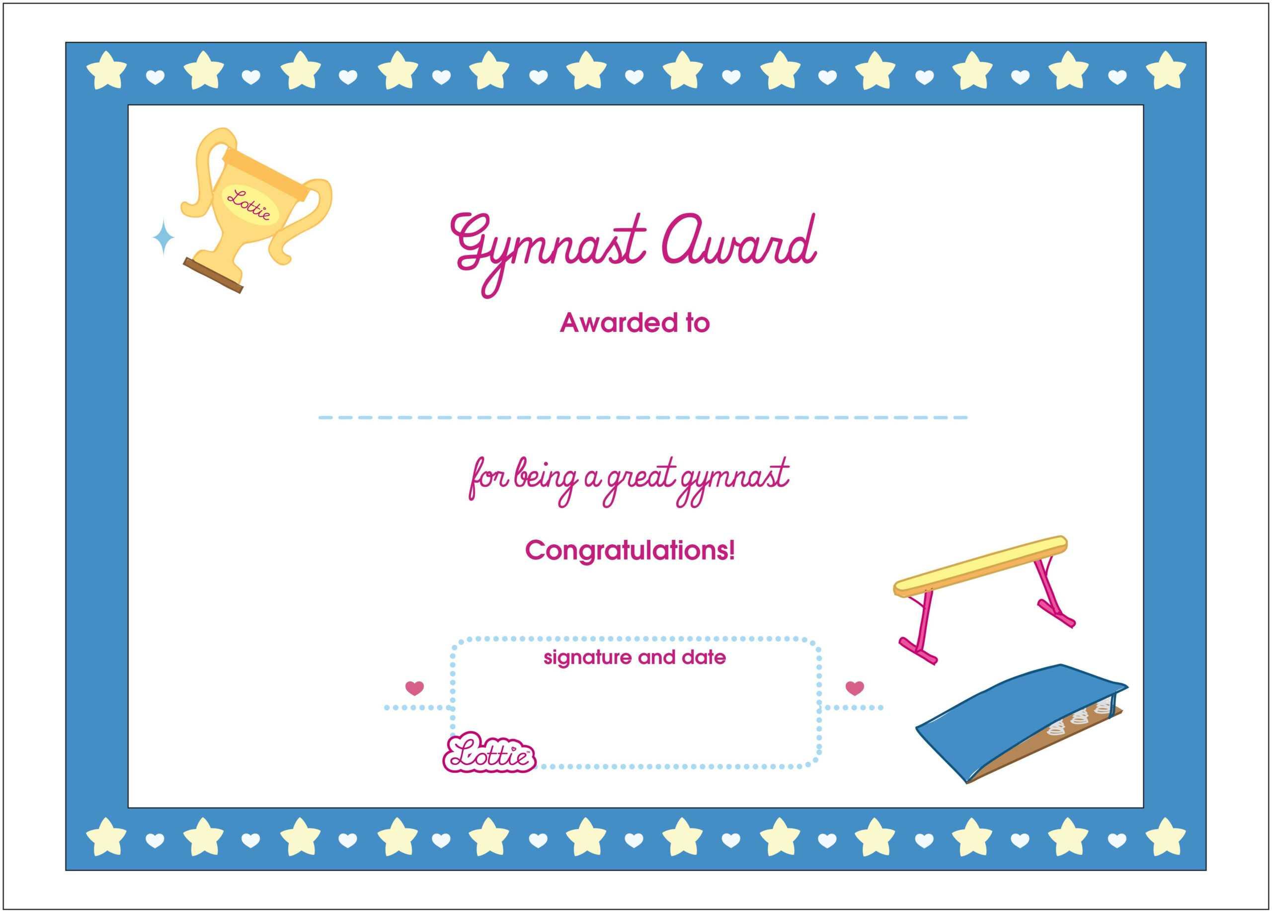 gymnastics certificate awards template certificates printable award gymnast doll douglasbaseball