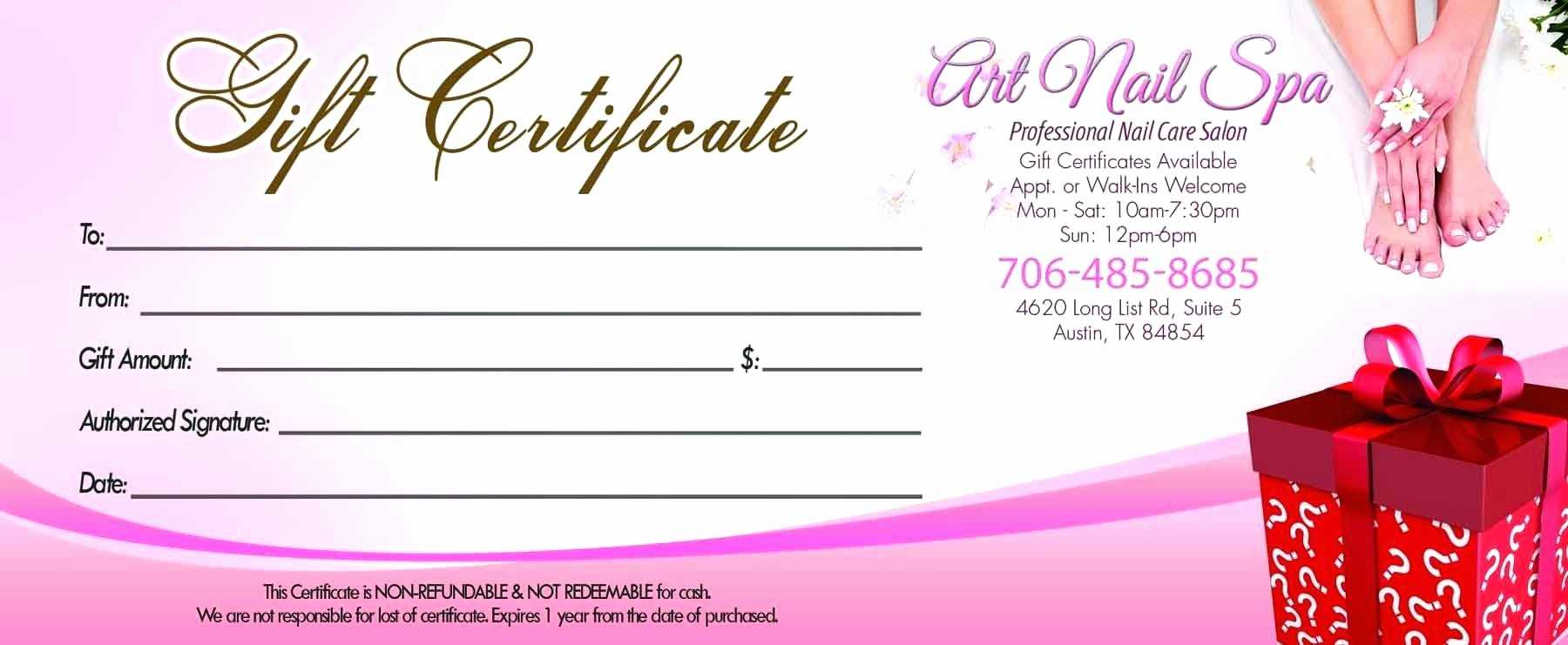 Free Printable Hair Salon Gift Certificate Template | Mult with Nail Gift Certificate Template Free