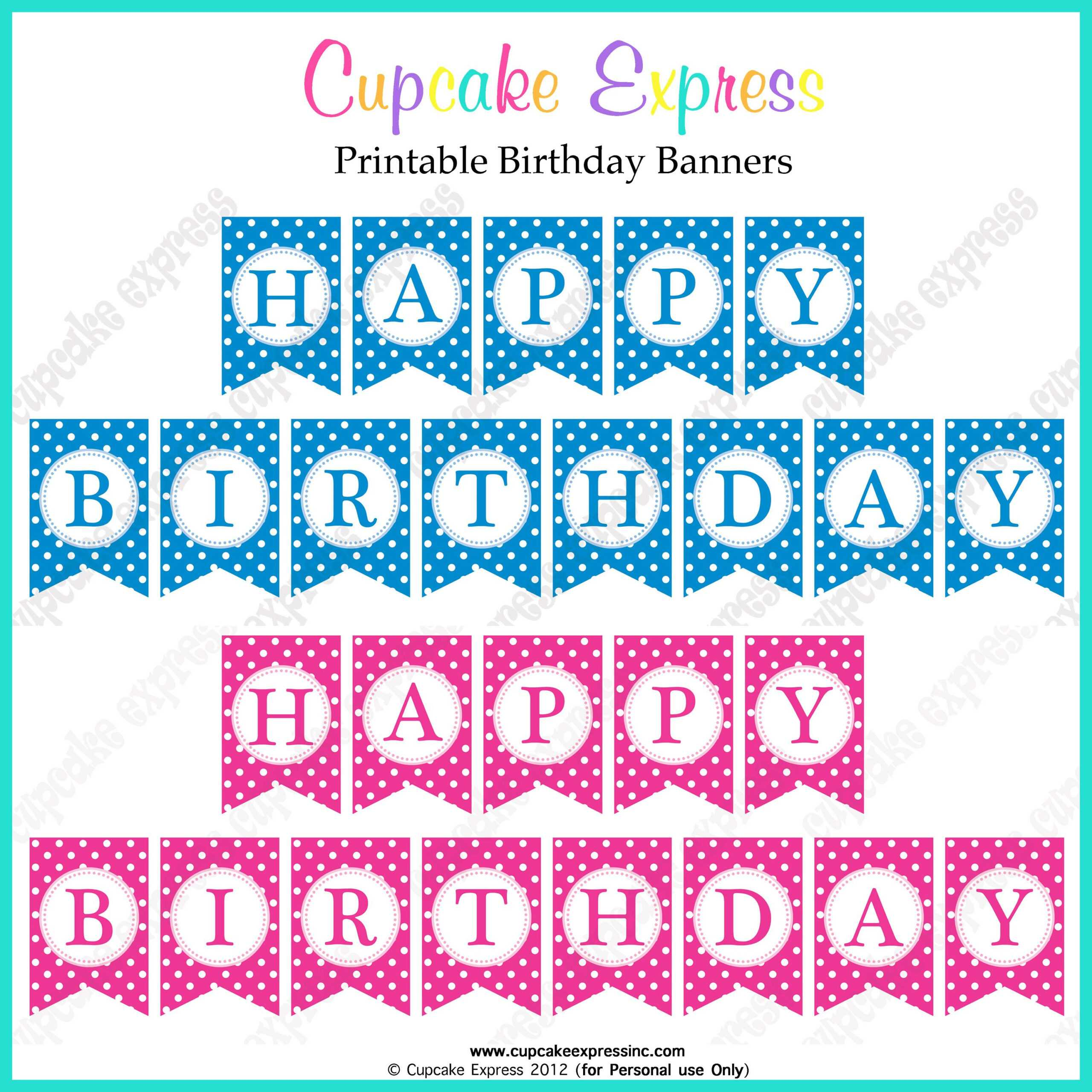 Free Printable Happy Birthday Banners Pink Blue   Happy in Free Printable Happy Birthday Banner Templates