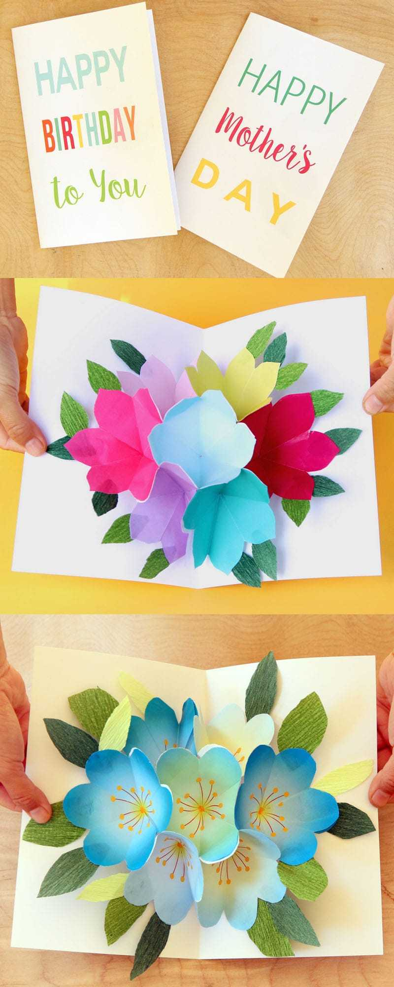 Free Printable Happy Birthday Card With Pop Up Bouquet - A regarding Mom Birthday Card Template
