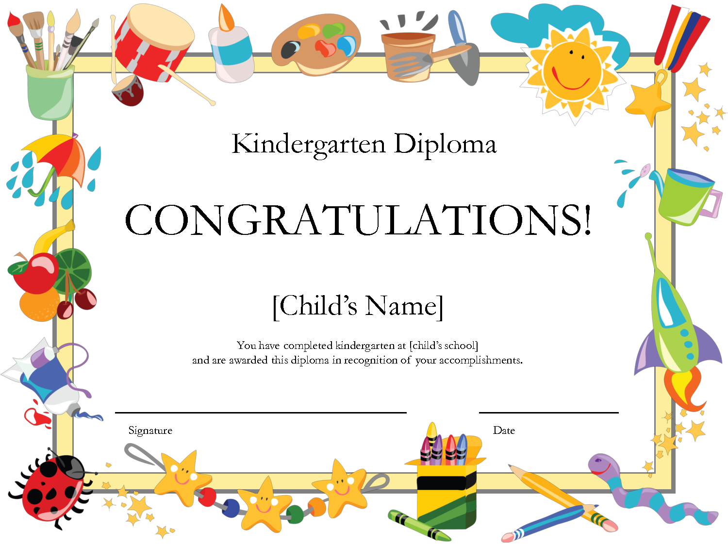 Free Printable Kindergarten Diplomaprintshowergames with regard to Free Printable Certificate Templates For Kids
