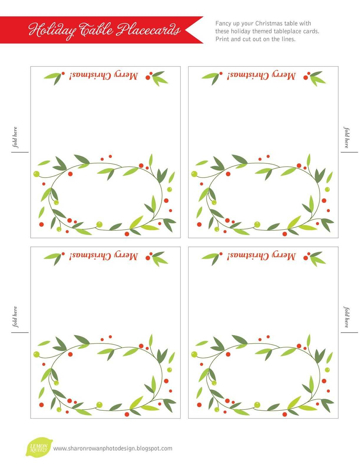 Free Printable Lemon Squeezy: Day 12: Place Cards Within Christmas Table Place Cards Template