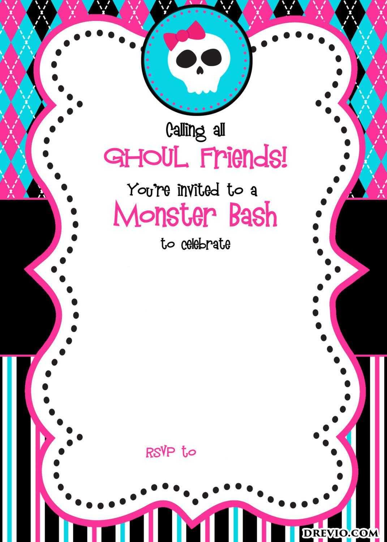 Free Printable Monster High Birthday Invitations | Free Regarding Monster High Birthday Card Template
