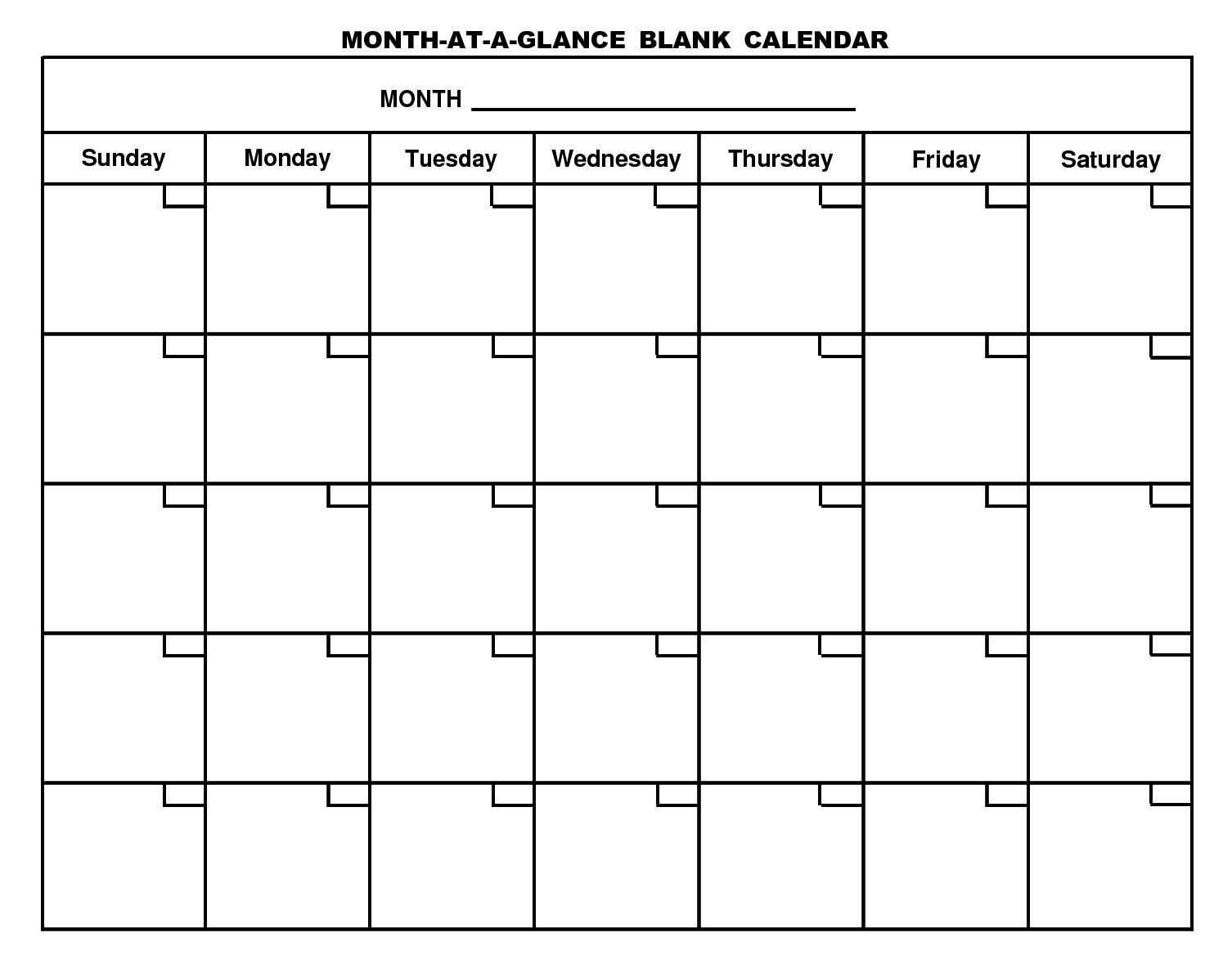 Free Printable Monthly Calendar With Large Boxes Skymaps intended for Month At A Glance Blank Calendar Template