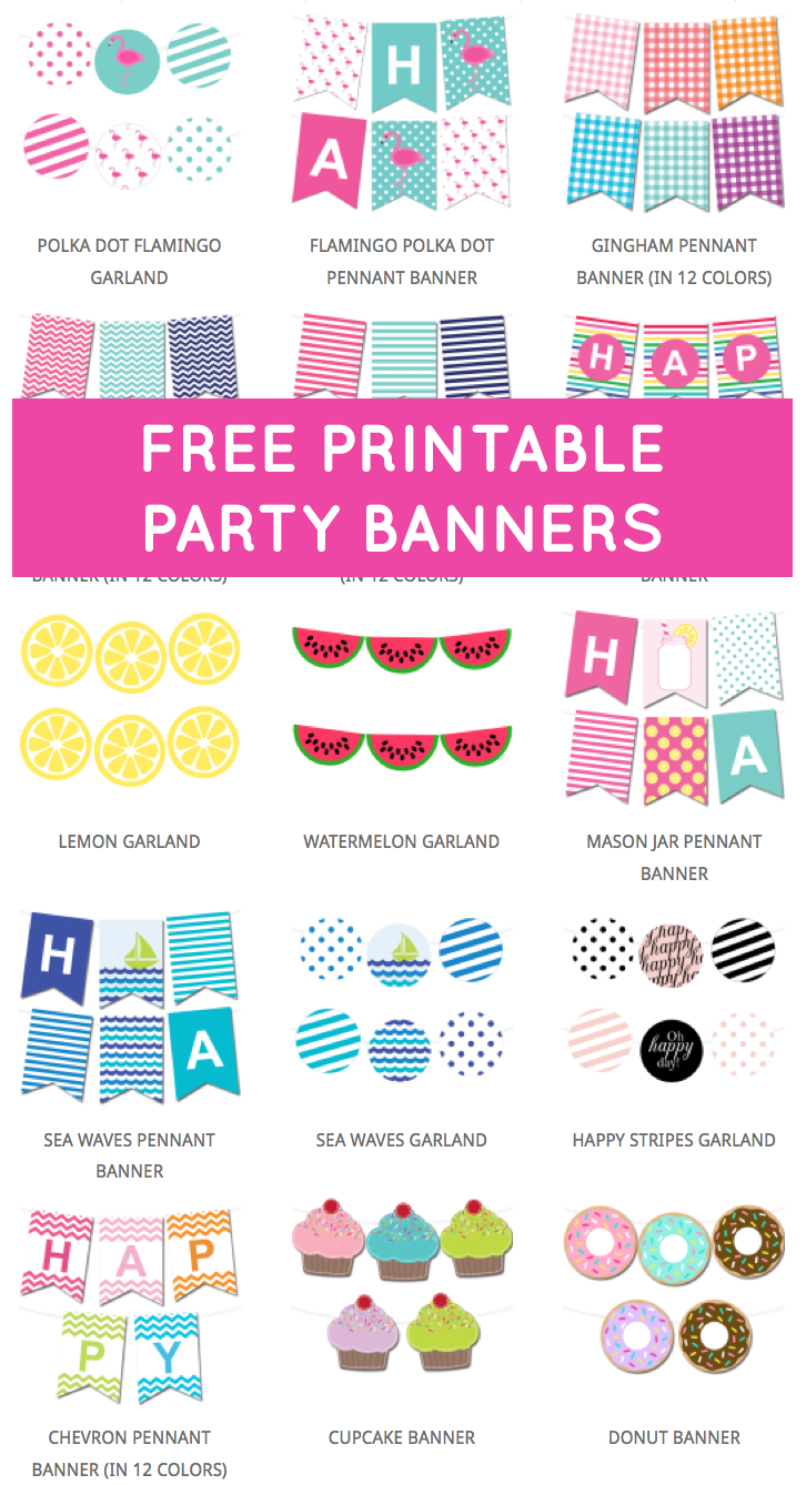 Free Printable Party Banners From @chicfetti | Free With Free Printable Party Banner Templates
