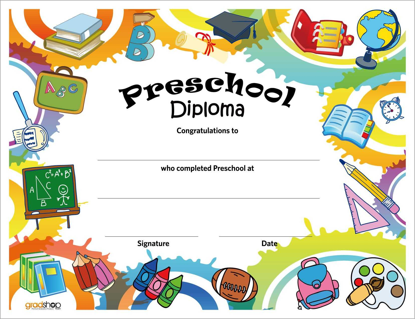 Free Printable Preschool Diplomas   Kindergarten Graduation for Free Printable Graduation Certificate Templates