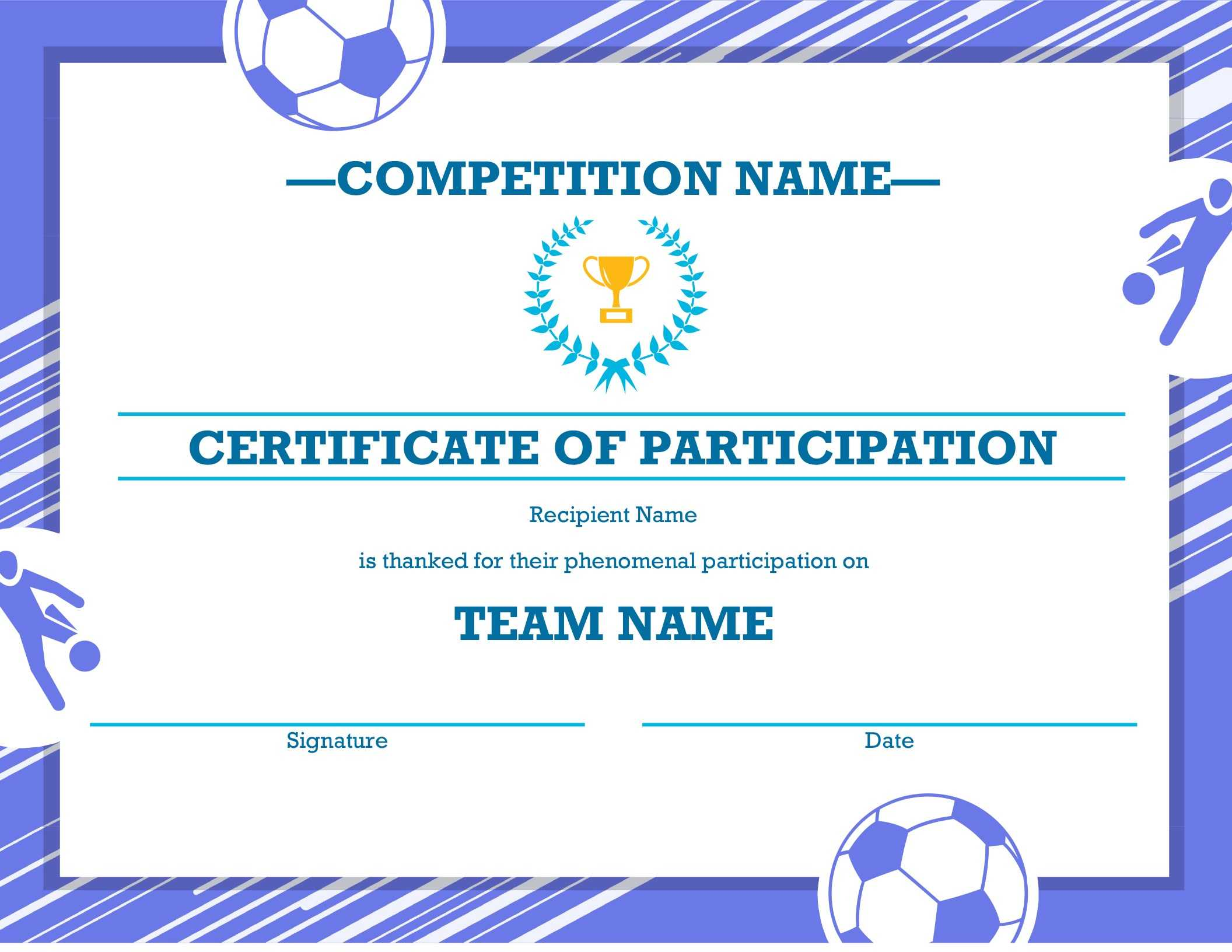 Free Printable Soccer Certificate Four Sports Awards within Sports Award Certificate Template Word
