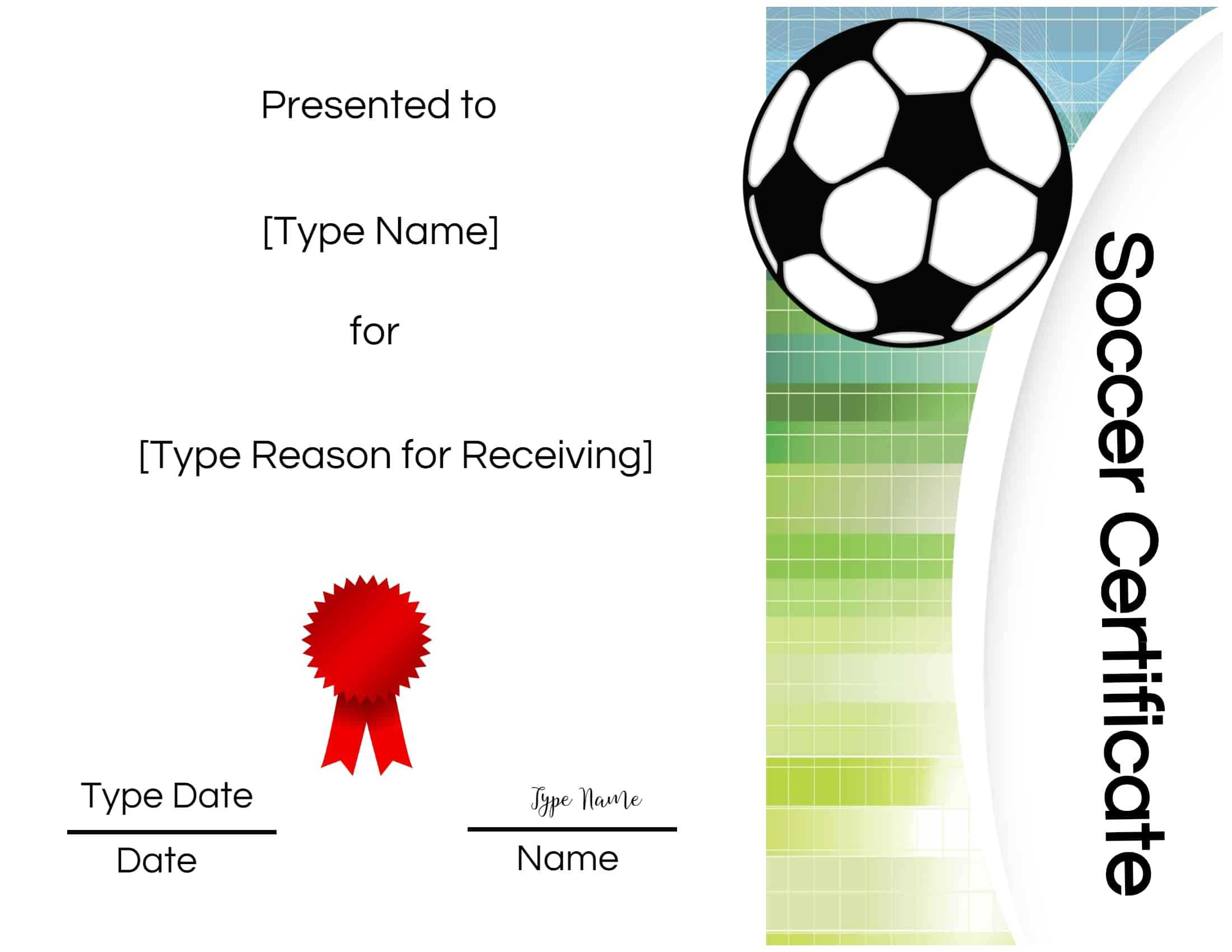 Free Printable Soccer Certificate Templates Award Maker Edit for Soccer Certificate Templates For Word