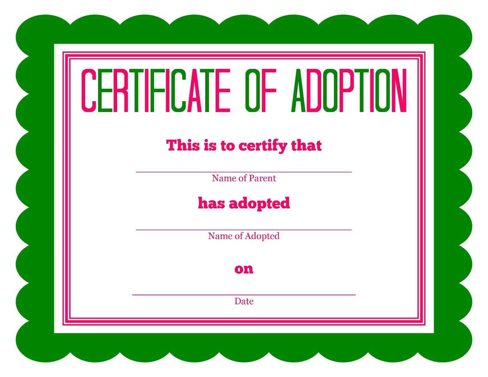 Free Printable Stuffed Animal Adoption Certificate For Blank Adoption Certificate Template