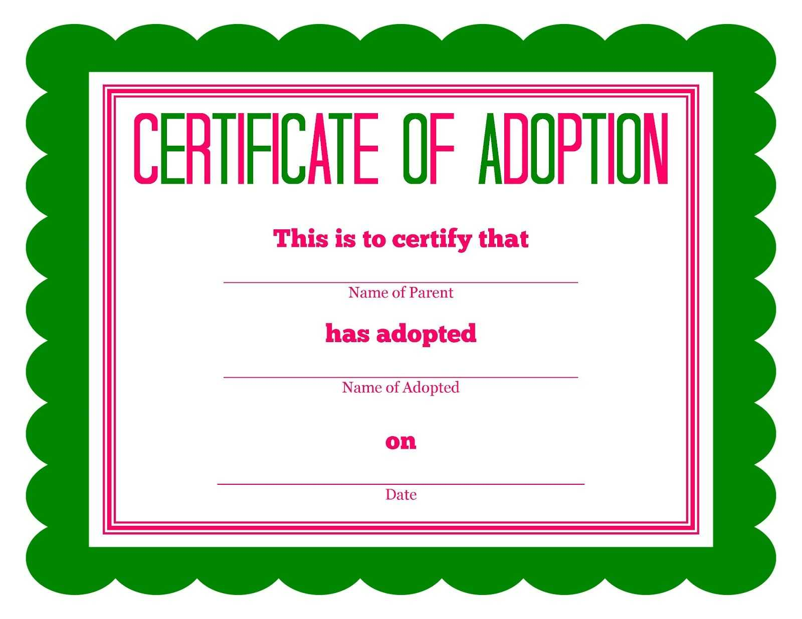Free Printable Stuffed Animal Adoption Certificate Intended For Toy Adoption Certificate Template