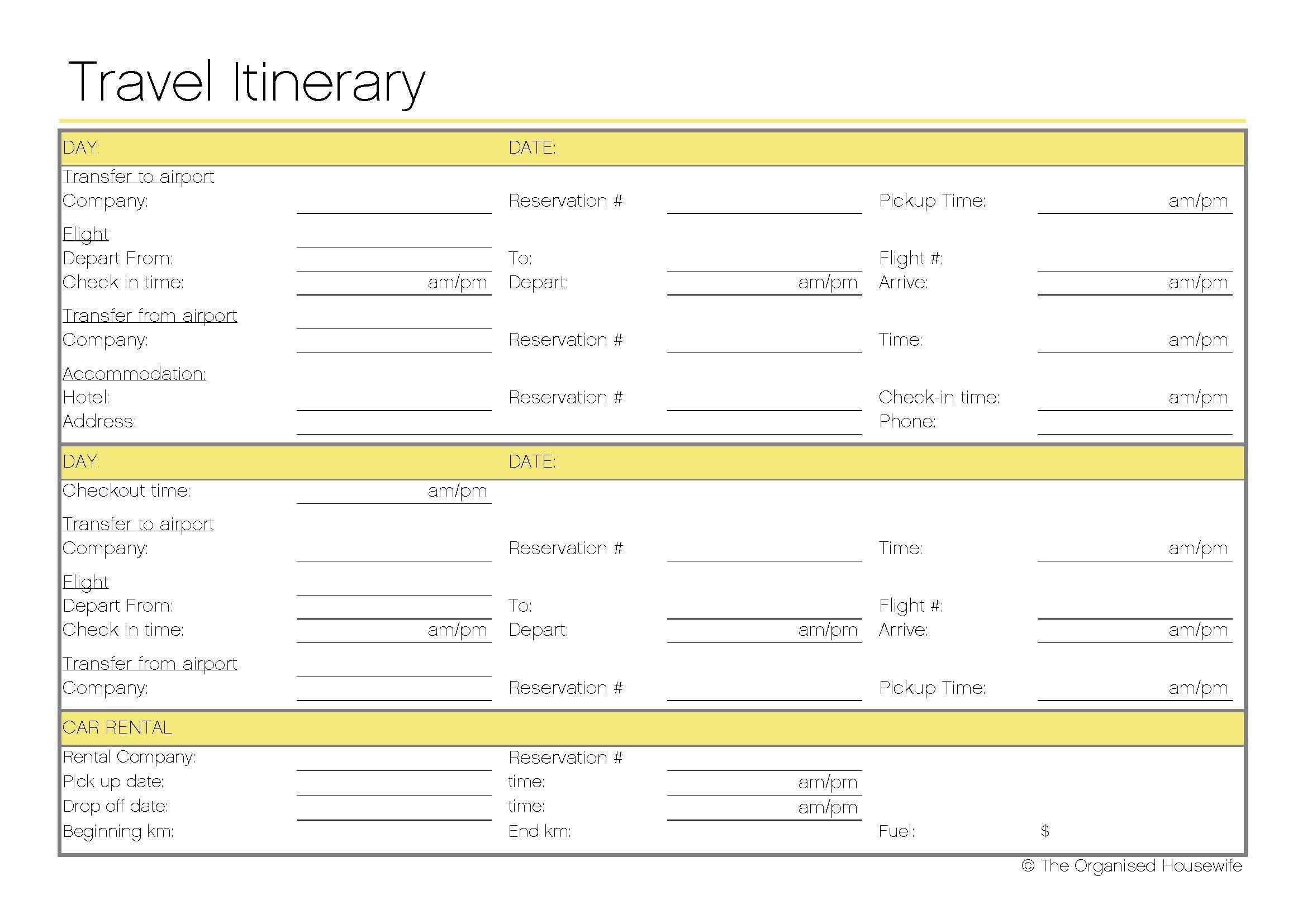 Free Printable – Travel Itinerary | Travel Itinerary In Blank Trip Itinerary Template