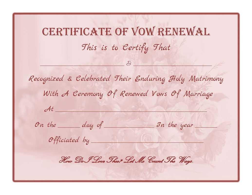 Free Printable - Vow Renewal Certificate   Wedding Renewal Regarding Anniversary Certificate Template Free