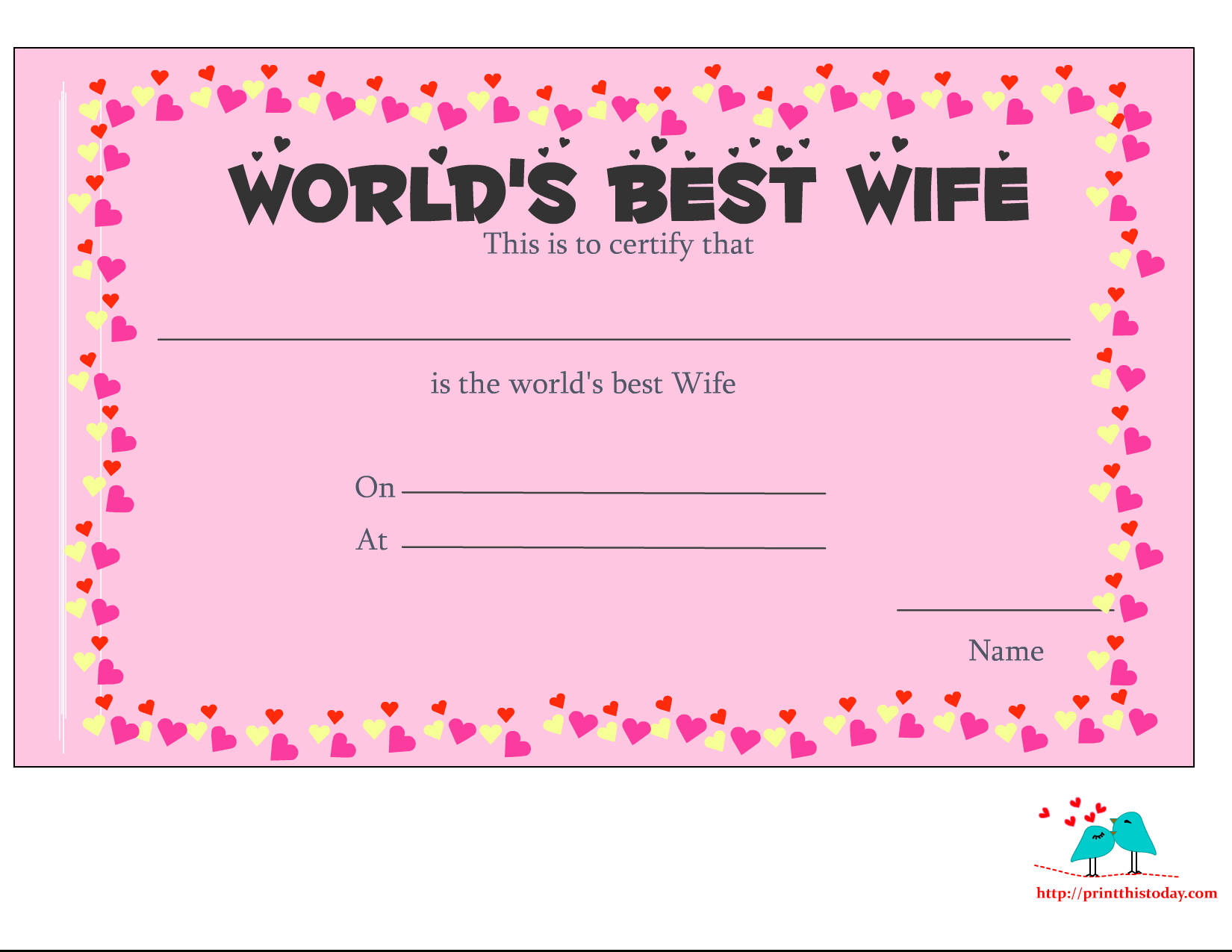 Free Printable World's Best Wife Certificates inside Love Certificate Templates