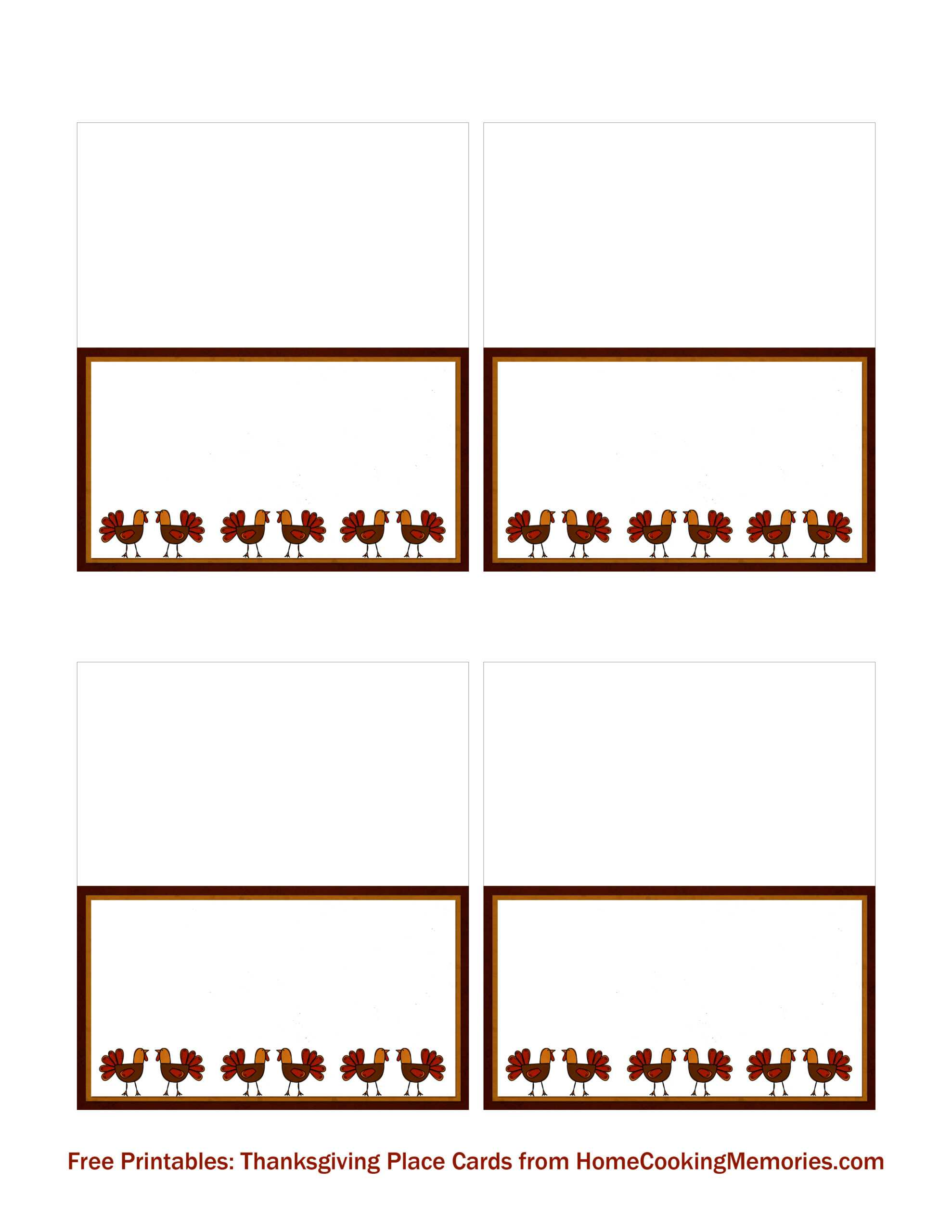 Free Printables: Thanksgiving Place Cards - Home Cooking Throughout Thanksgiving Place Card Templates