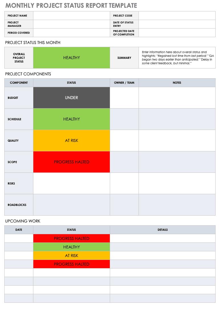 Free Project Report Templates | Smartsheet Within Monthly Project Progress Report Template