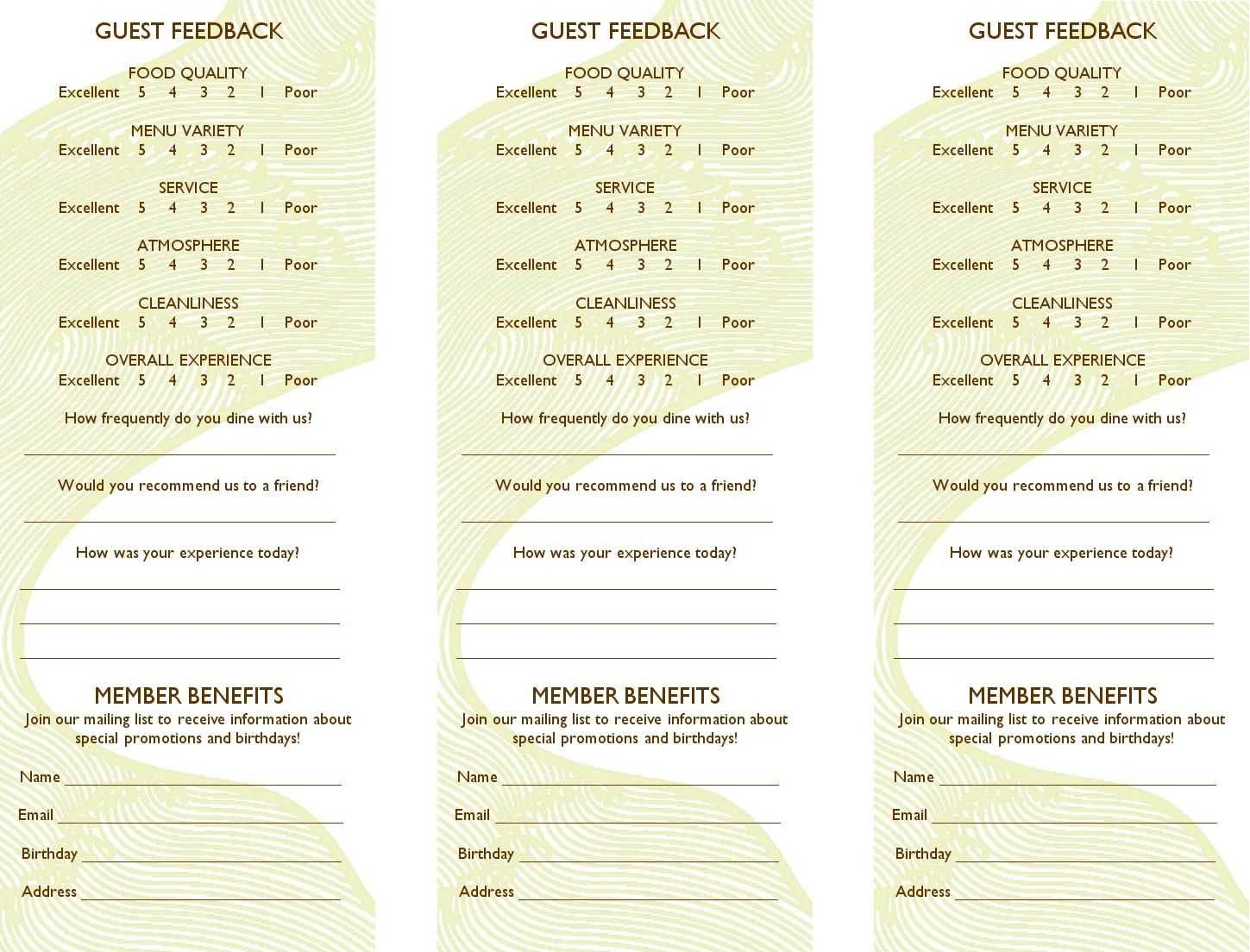Free Restaurant Comment Card Template Dramakoreaterbarucom for Restaurant Comment Card Template