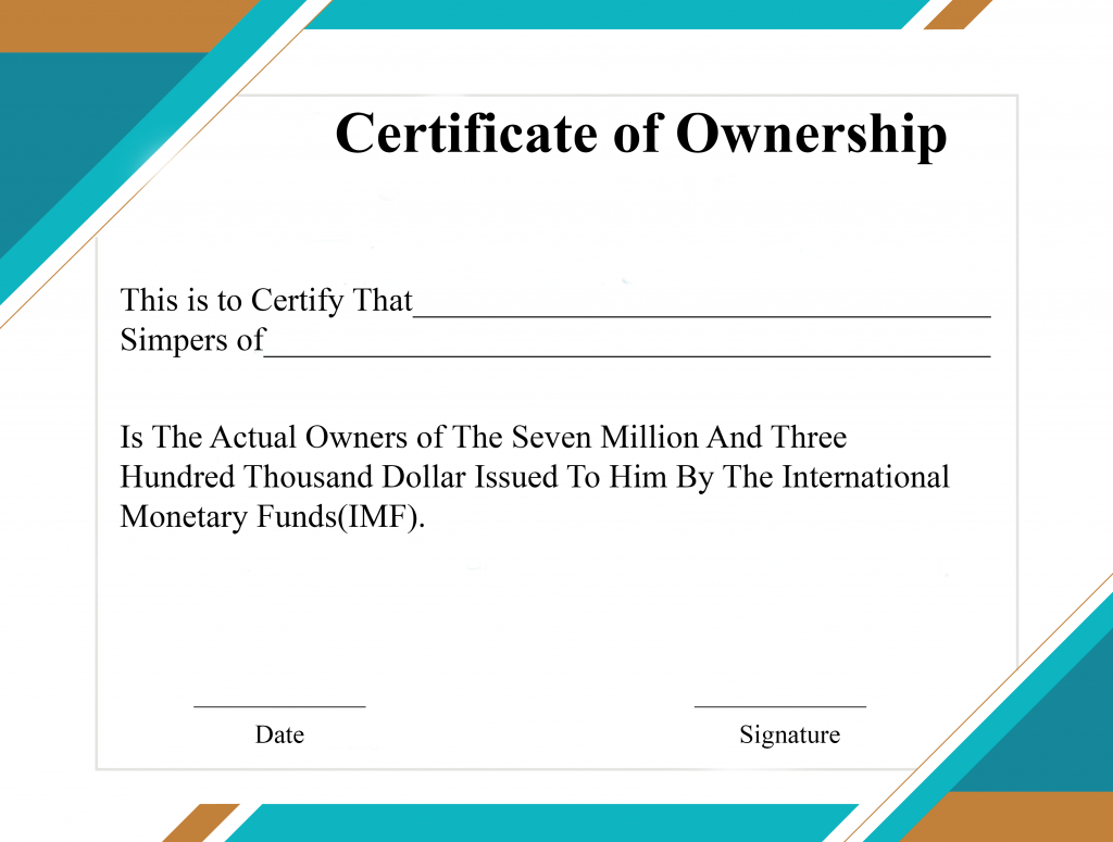 Free Sample Certificate Of Ownership Templates | Certificate with Ownership Certificate Template