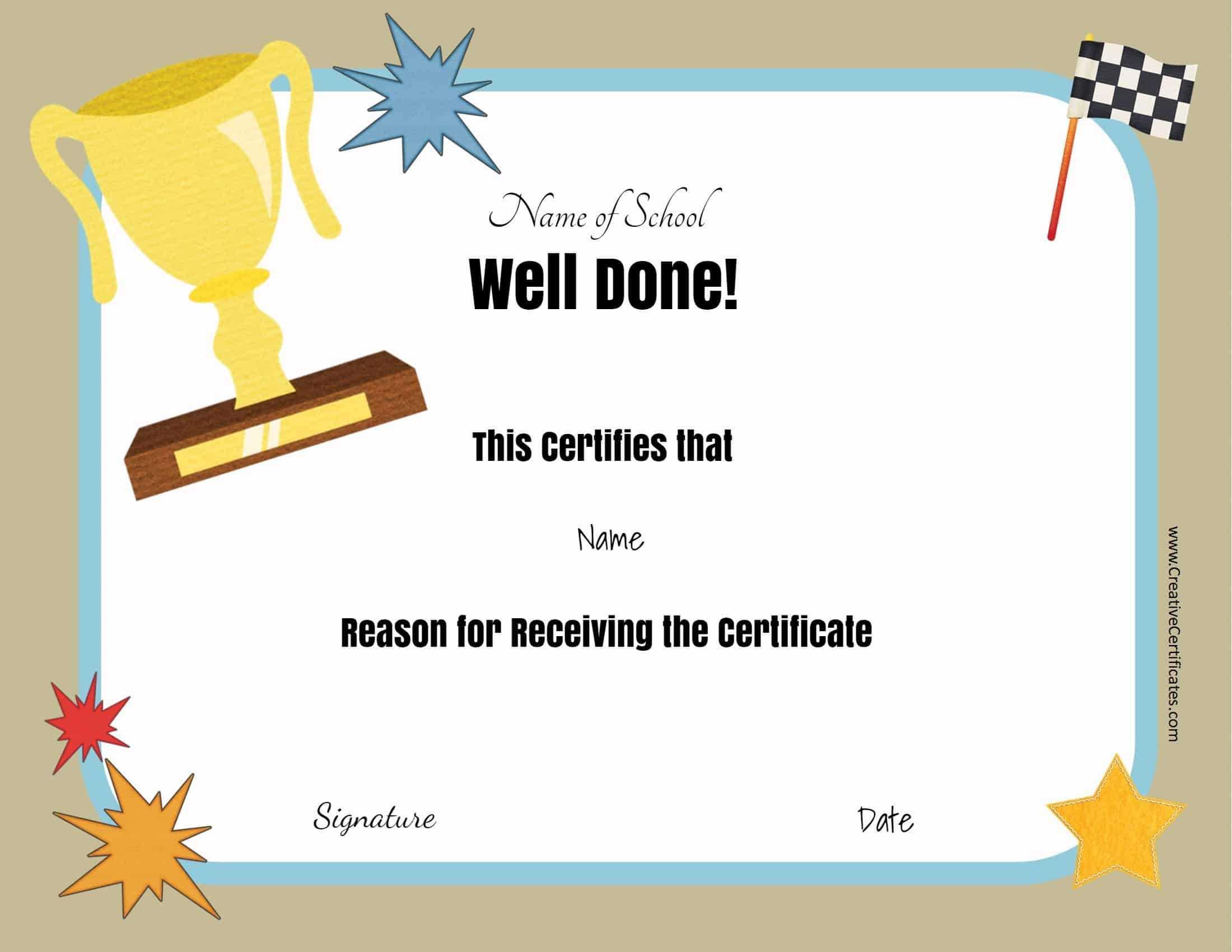 Free School Certificates & Awards with regard to Good Job Certificate Template