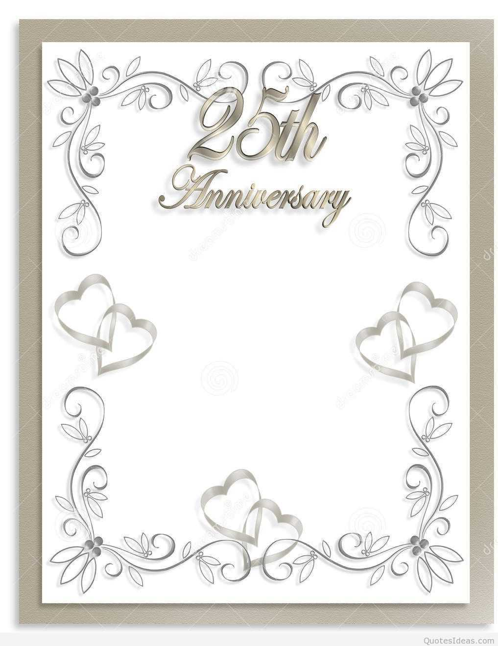 Free Silver Wedding Anniversary Invitations Templates Intended For Template For Anniversary Card