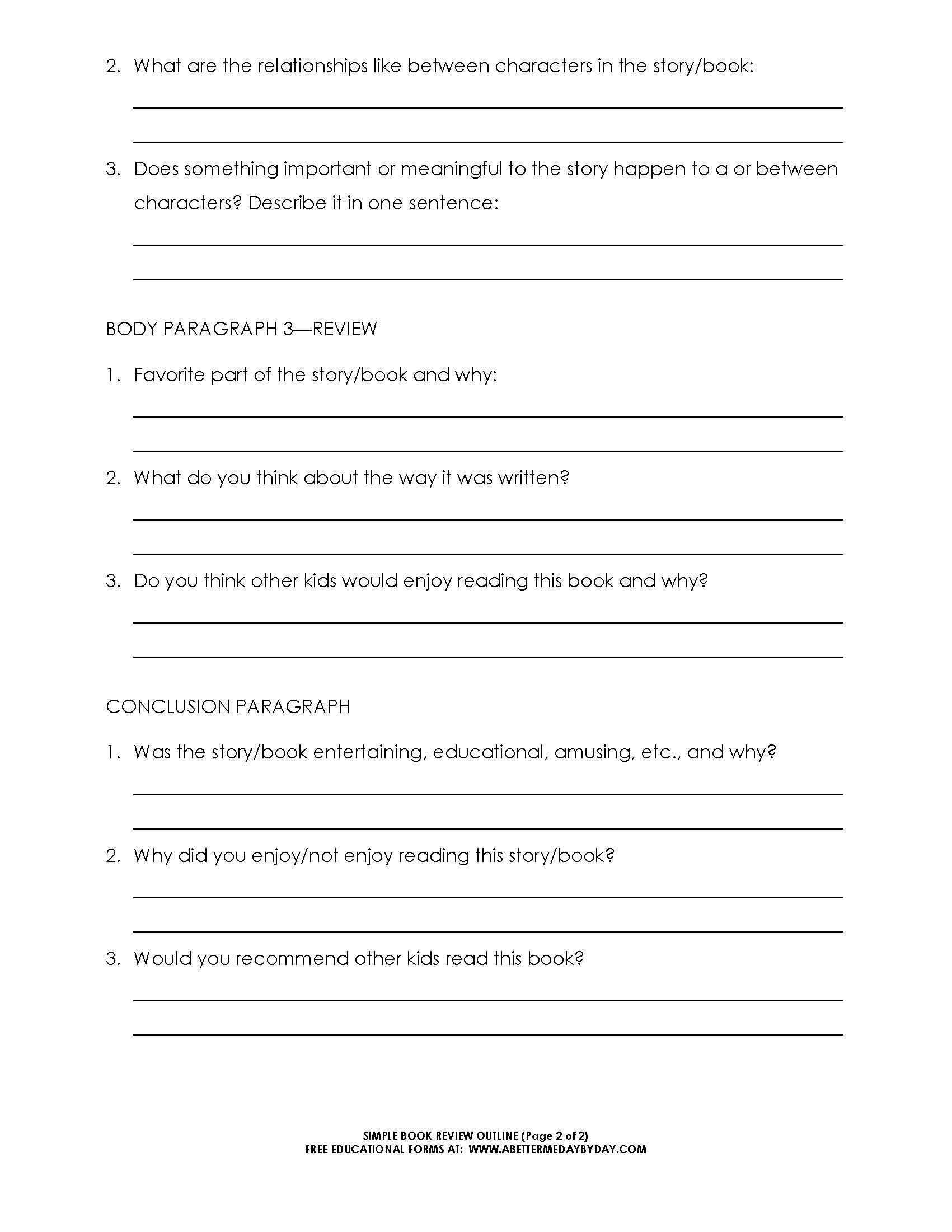 Free: Simple 5 Paragraph Book Review Or Report Outline Form Regarding One Page Book Report Template