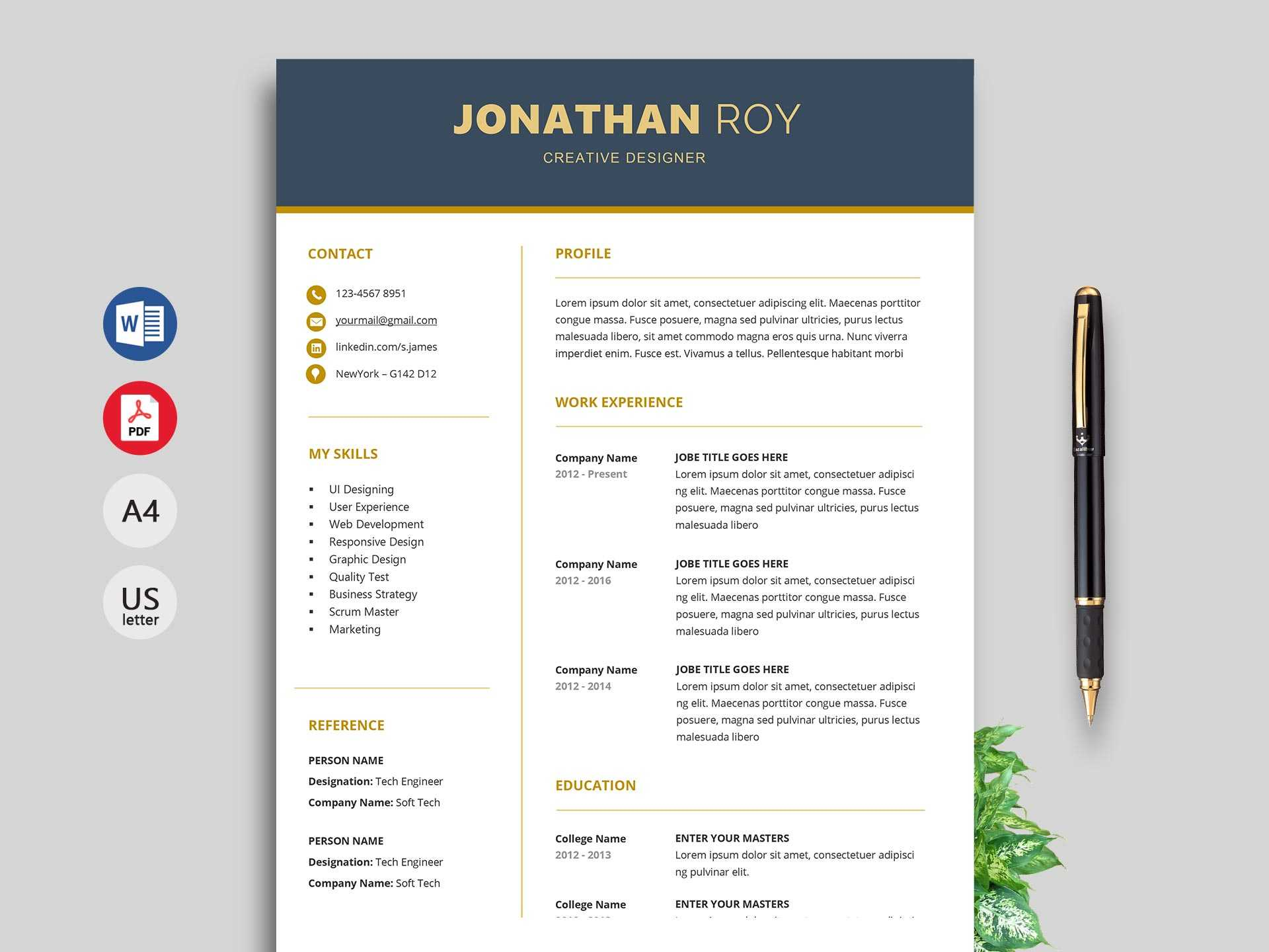 Free Simple Resume & Cv Templates Word Format 2019 | Resumekraft for How To Find A Resume Template On Word