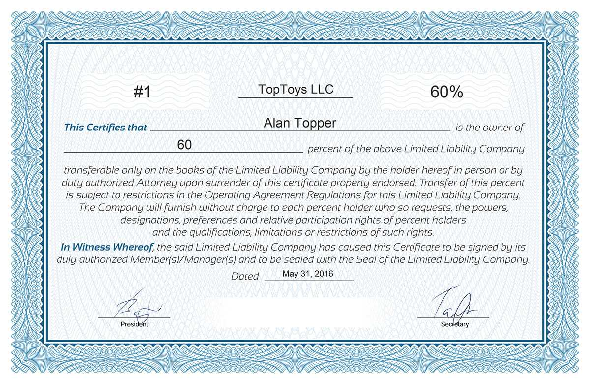 Free Stock Certificate Online Generator With Certificate Of Ownership Template