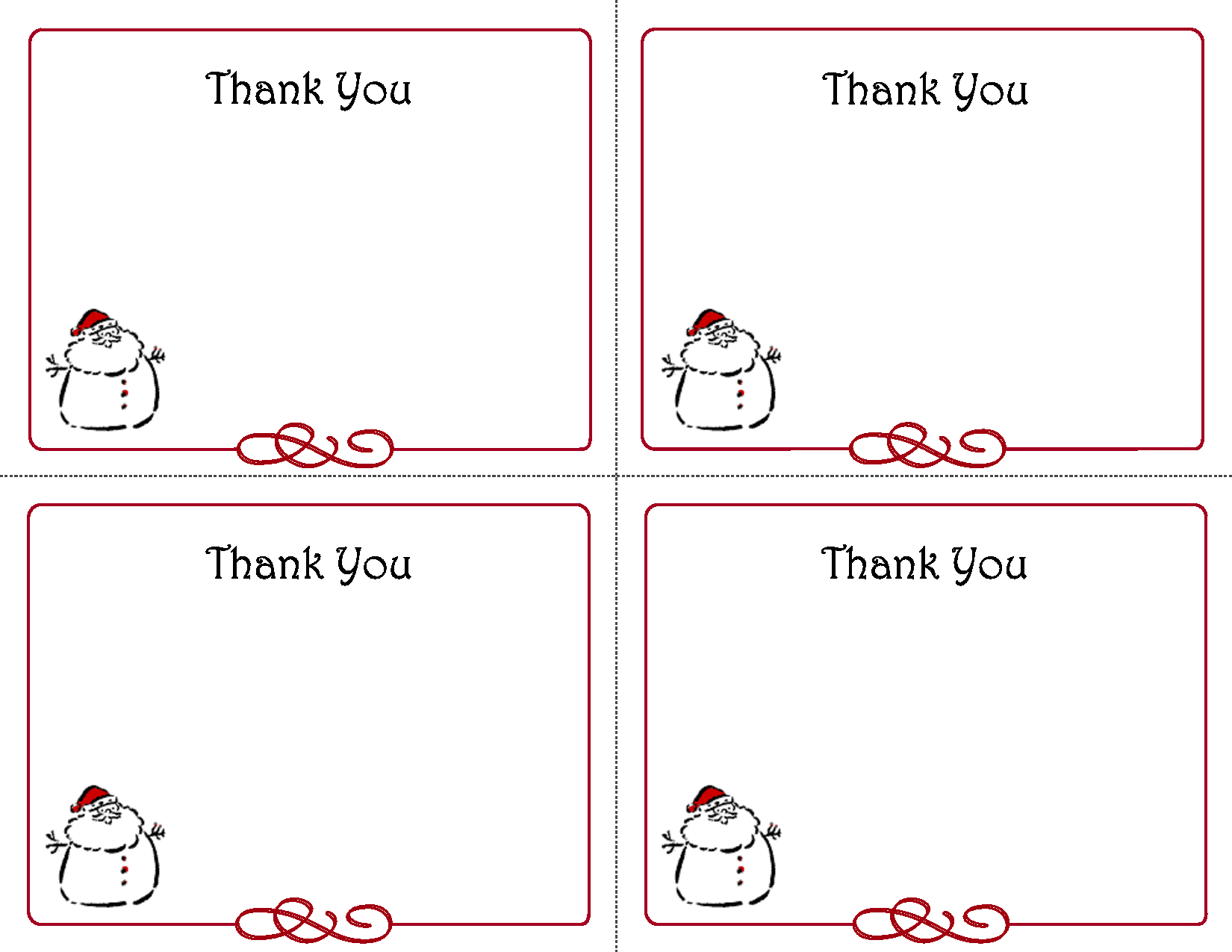 Free Thank You Cards Printable   Free Printable Holiday Gift Intended For Template For Cards To Print Free