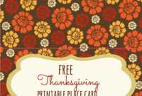 Free Thanksgiving Printables – Frugal Fanatic inside Thanksgiving Place Card Templates