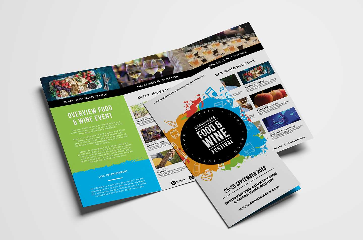 Free Tri-Fold Brochure Template For Events & Festivals - Psd for Wine Brochure Template