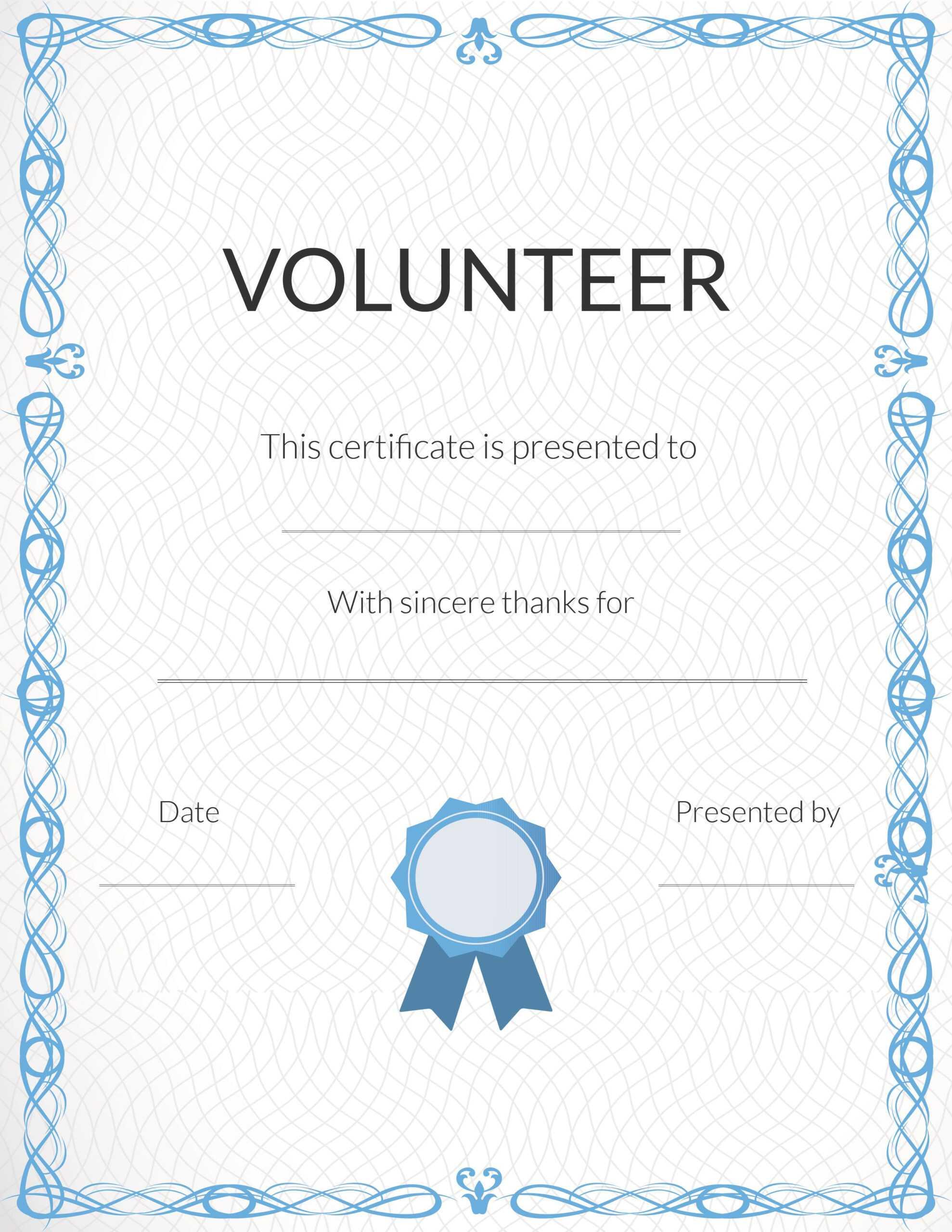 Free Volunteer Appreciation Certificates — Signup With Volunteer Certificate Template