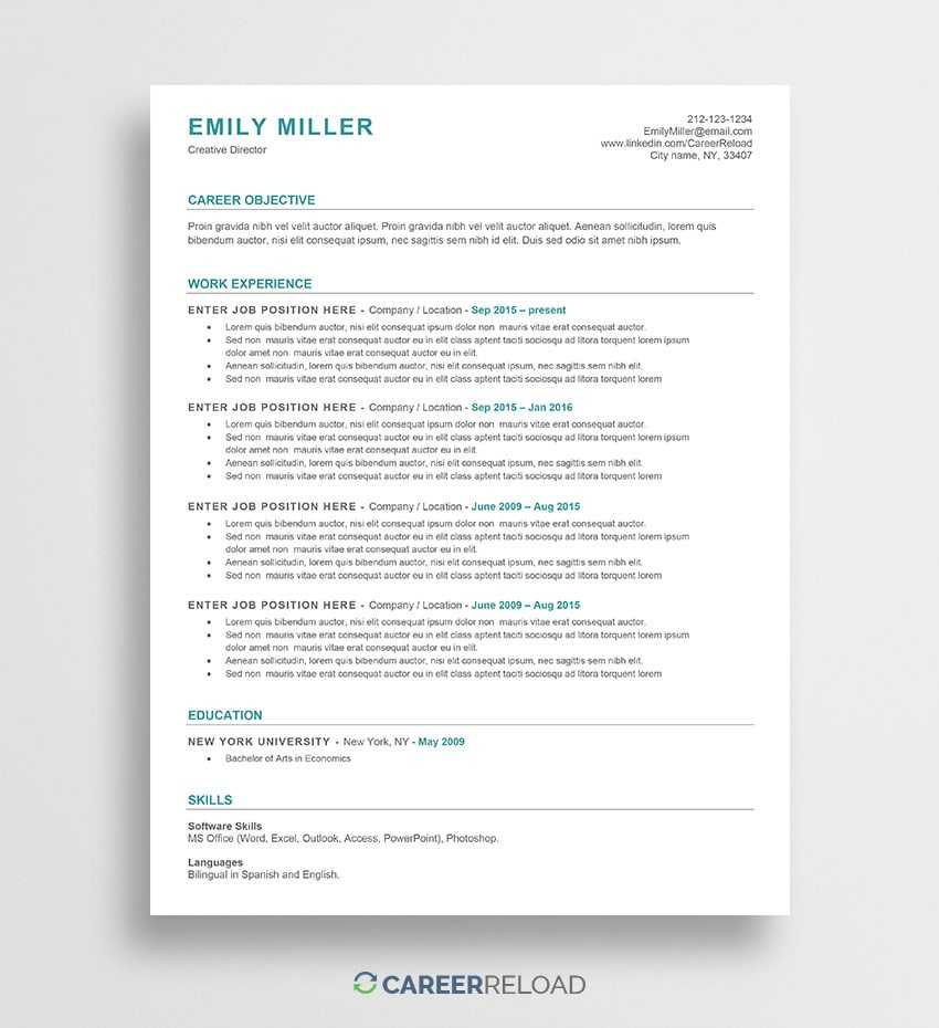 Free Word Resume Templates - Free Microsoft Word Cv Templates inside How To Find A Resume Template On Word