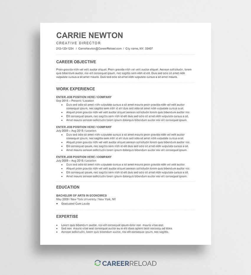 Free Word Resume Templates - Free Microsoft Word Cv Templates regarding How To Find A Resume Template On Word