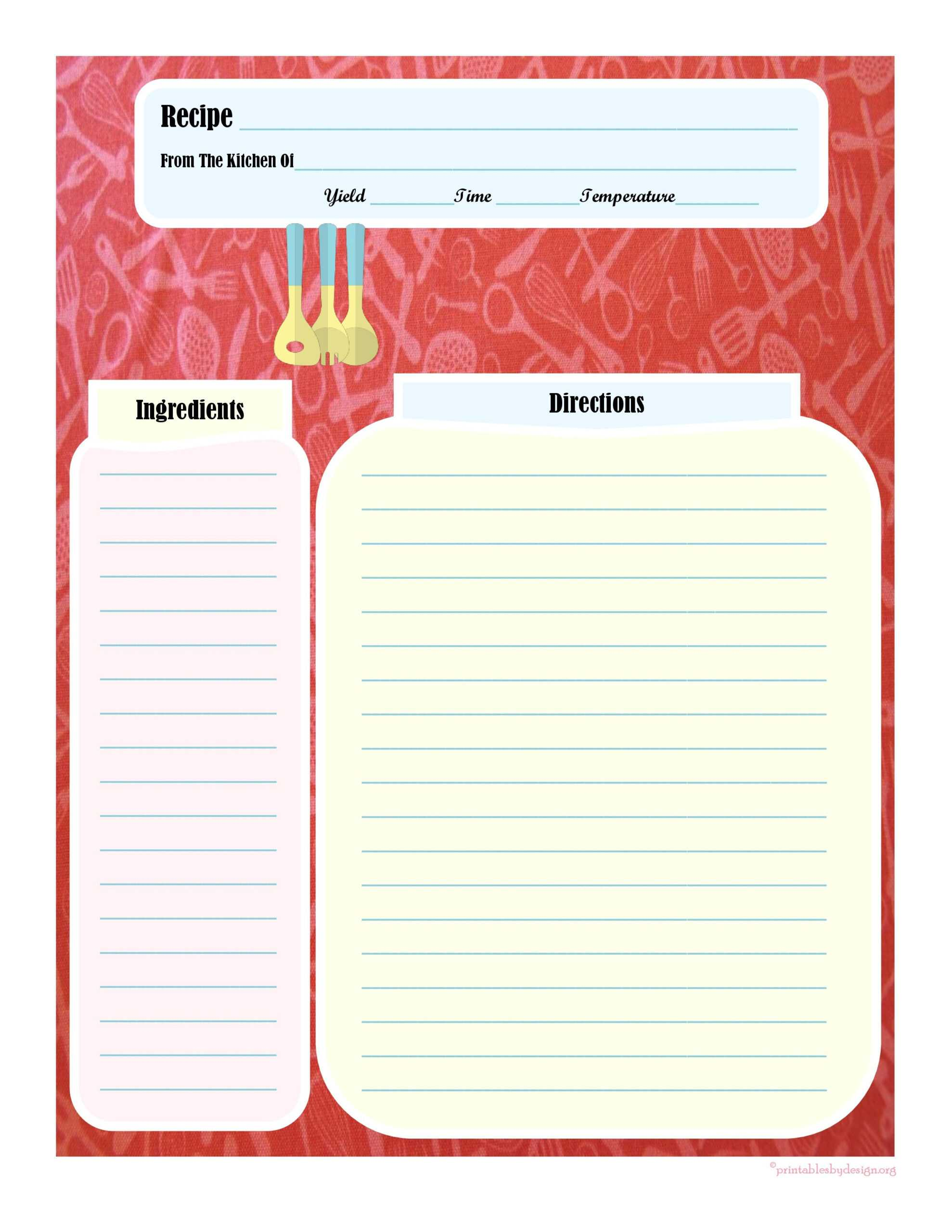 Full Page Recipe Card … | Printable Recipe Cards, Cookbook Regarding Full Page Recipe Template For Word