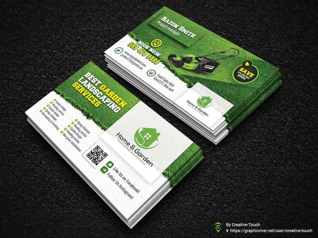 Garden Landscape Business Card Template   Fully Editable Tem intended for Landscaping Business Card Template