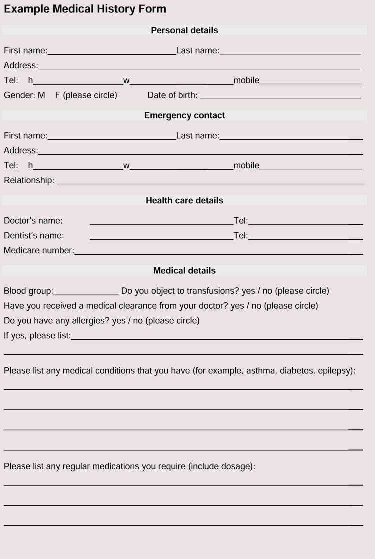 General Medical History Forms (100% Free) - [Word, Pdf] Pertaining To Medical History Template Word