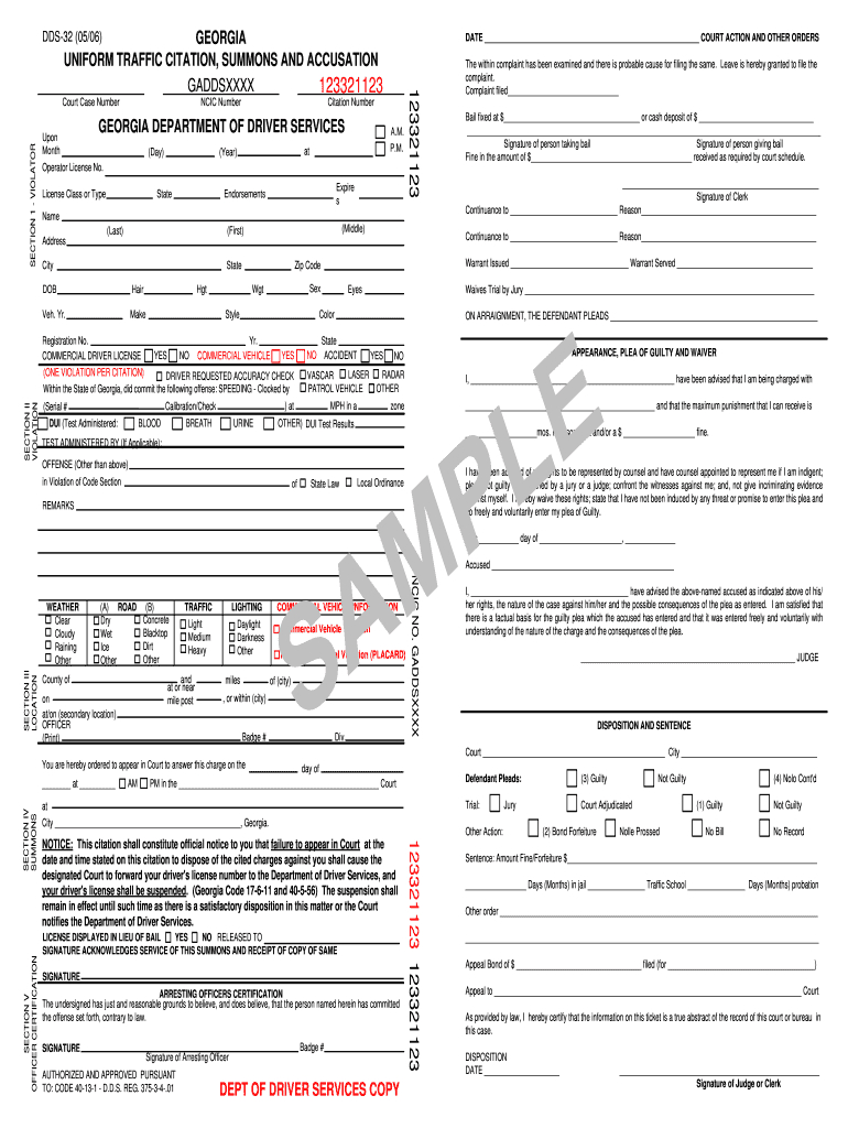 Georgia Uniform Traffic Citation – Fill Online, Printable Regarding Blank Speeding Ticket Template