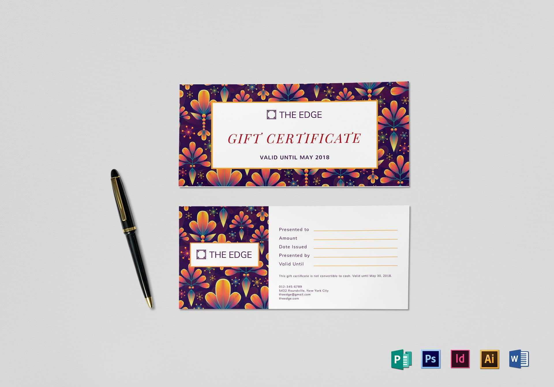 Gift Certificate Template In Gift Certificate Template Indesign