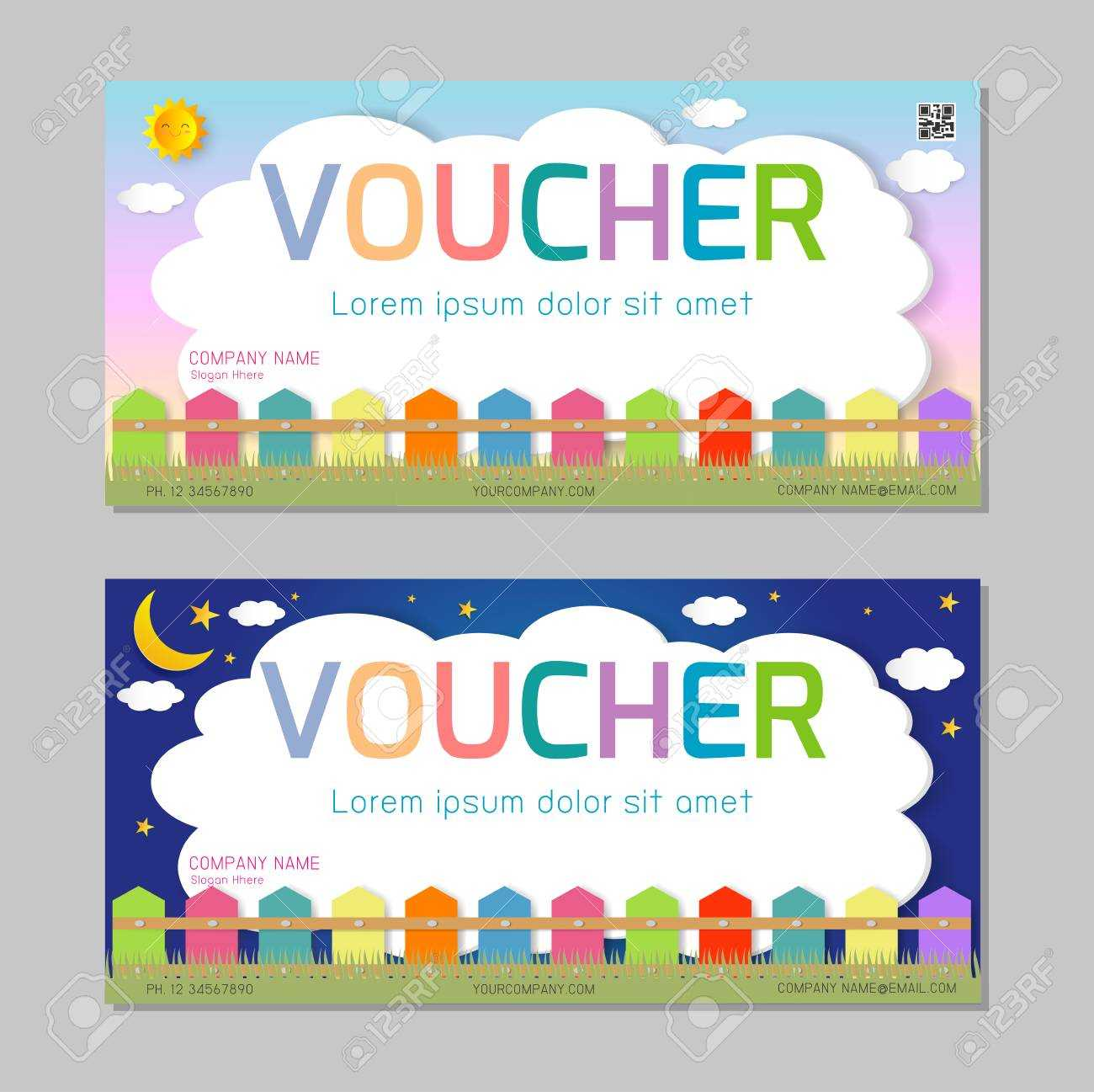 Gift Voucher Template With Colorful Pattern,cute Gift Voucher.. Throughout Kids Gift Certificate Template