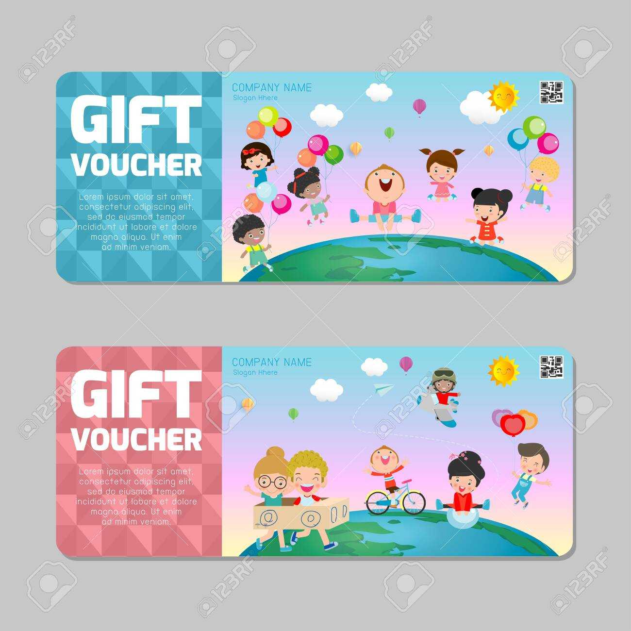 Gift Voucher Template With Colorful Pattern,cute Gift Voucher.. Within Kids Gift Certificate Template
