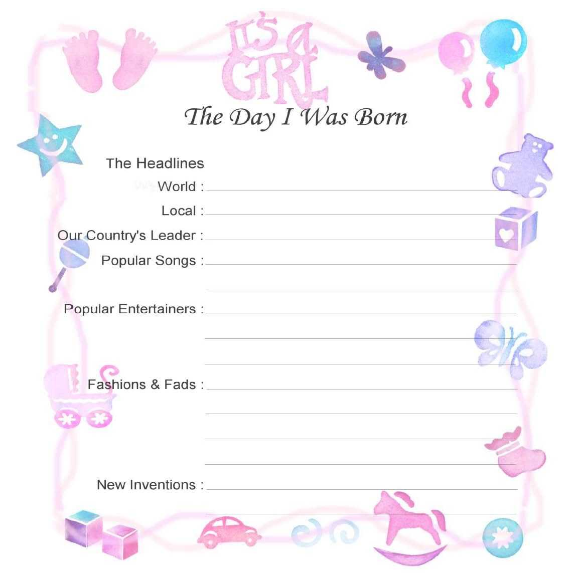 Girl Birth Certificate Template - Atlantaauctionco Pertaining To Girl Birth Certificate Template